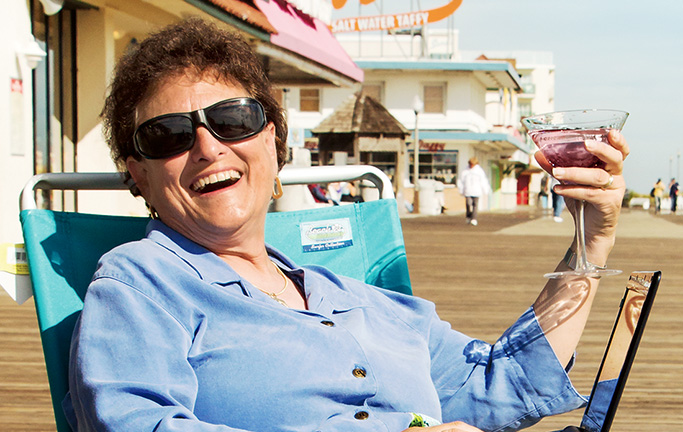 Fay Jacobs on the Rehoboth Beach Boardwalk