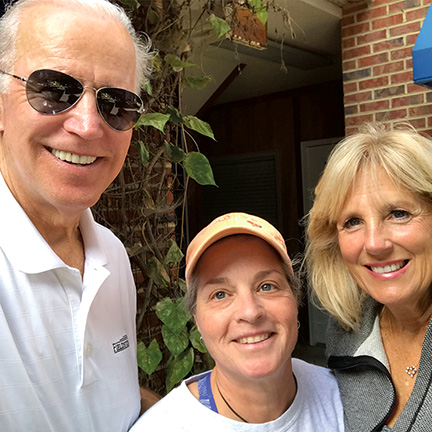 Former Vice-President Joe Biden, Lori Kline, and Jill Biden