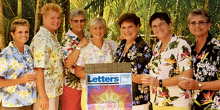 Maggie Booth, Jan Johnson, Darleen Kahl, Susie Poteet, Barbara Lilien, Pat Morgan, and Minnie Larosa - Paradise Cove, Oahu, Hawaii