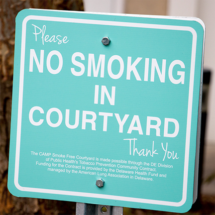 No Smoking Sign in the CAMP Rehoboth Courtyard