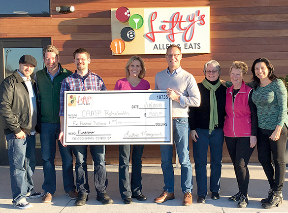 Lefty's Alley's and Eats Check Presentation to CAMP Rehoboth