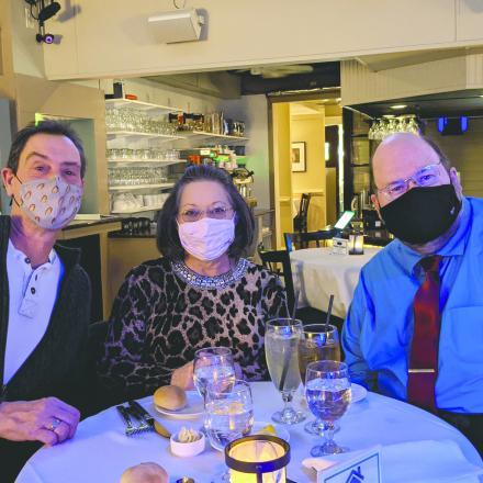Everett Hillman, Trish Hillman, and Jim Simpers at the Blue Moon