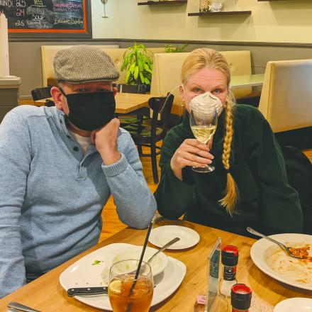 Matthew Kenworthy and Sandra Skidmore at Shrimpy's