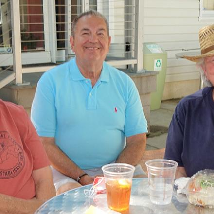 Sandy Free- man, Charlie Gable, and Anne Cole at Lori's Café and CAMP Rehoboth