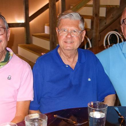 Charlie Browne, Greg Lehne, and Norman Hunt at Back Porch Café