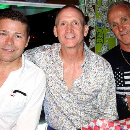 Ron Hargis, Mike Webster, and Mark Powley at Purple Parrot