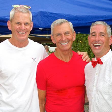 Ken Geissler, John Hackett, and Tom Newton at John and Tom's Backyard Bingo Party