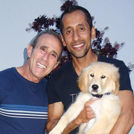 Gary Seiden and Ah Bashir (with Max) Celebrating Gary's Birthday.