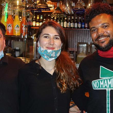 Luis Martinez, Andrea Mardalo, and Manny Tejeda at Dos Locos